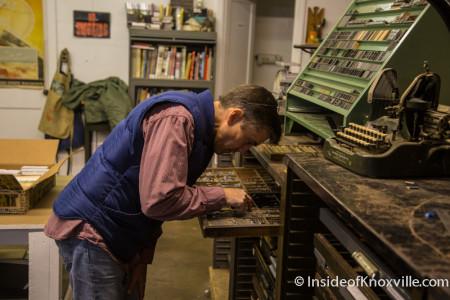 Brett Burdick in the Letter Press Basics Class, Striped Light Letter Press Print Shop, 107 Bearden Place, Knoxville, February 2016