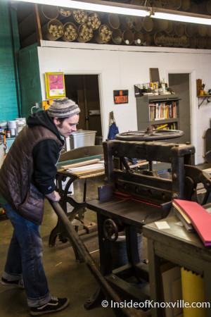 Bryan Baker, Founder, Striped Light Letter Press Print Shop, 107 Bearden Place, Knoxville, February 2016