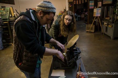 Bryan helps student (Sarah) set her letter press in the Letter Press Basics Class, Striped Light Letter Press Print Shop, 107 Bearden Place, Knoxville, February 2016
