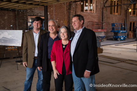 Mark Heinz, Ashley Capps, Mayor Madeline Rogero and David Dewhirst, Press Conference for the Mill and Mine, 225 W. Depot Ave., Knoxville, March 2016