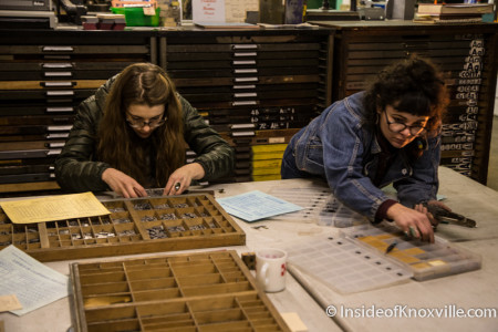 Sarah Shebaro (right), Founder, Striped Light Letter Press Print Shop, 107 Bearden Place, Knoxville, February 2016