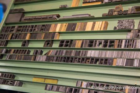 Striped Light Letter Press Print Shop, 107 Bearden Place, Knoxville, February 2016