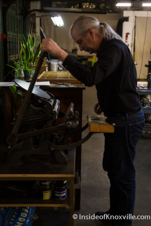 Urban Guy Channels His Inner Artisan in the Letter Press Basics Class, Striped Light Letter Press Print Shop, 107 Bearden Place, Knoxville, February 2016
