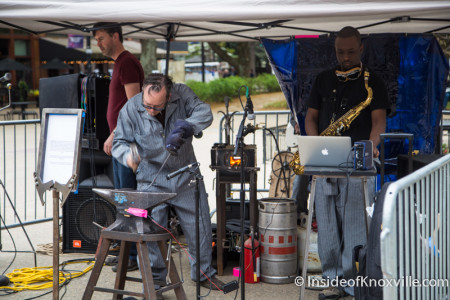 Preston Farabow and Musicians Produce a Piece Using the Sounds of an Anvil, Market Square, Big Ears, Knoxville, 2016