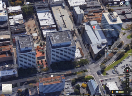 Aerial View (Google Earth) of TVA Towers (left) and Office/Parking Garage to be Demolished (right), Summit Hill at Walnut, Knoxville