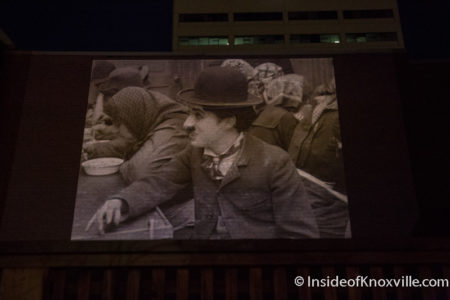 """Charlie Chaplin's """" The Immigrant"""" on the Rooftop at Scruffy City Hall, Knoxville Film and Music Festival, April 2016"""