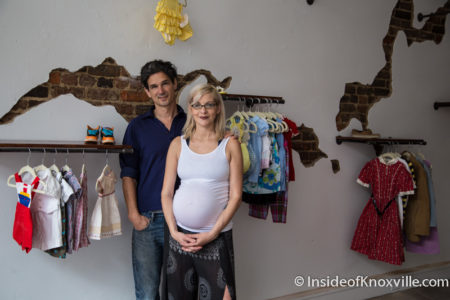 Owner Brynn Crowell with Husband Gabriel Crowell, White Buffalo Children's Boutique, 108 E. Jackson Ave., Knoxville, May 2016