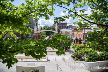 View of Market Square from TVA Plaza, Knoxville, May 2016