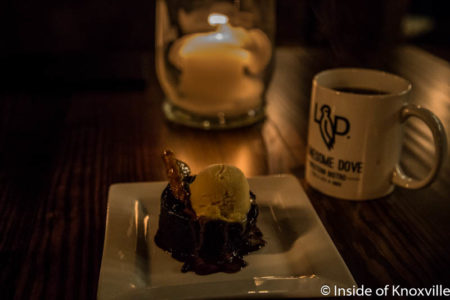 Ancho Chile Chocolate Cake with Vanilla Cremeux and Almond Brittle, Lonesome Dove, 100 N. Central St., Knoxville, June 2016