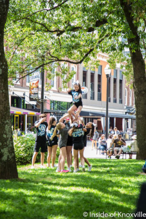 Cheerleaders Practicing, Market Square, Knoxville, May 2016