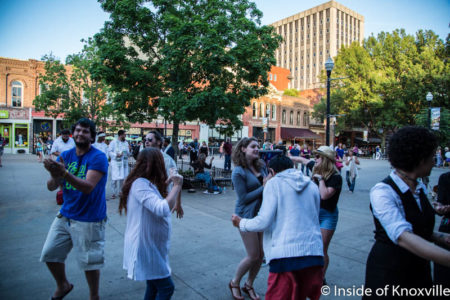 Dance Party Outside Cocoa Moon Shuts Down Robed Preachers, Market Square, Knoxville, May 2016