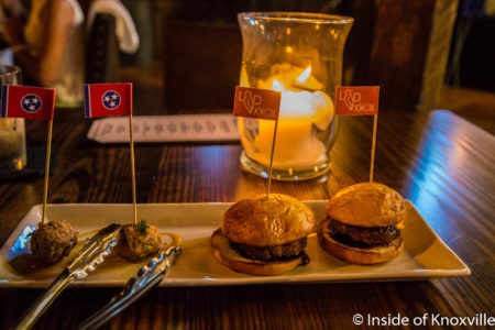 Elk Sliders and Pheasant Meatballs, Lonesome Dove, 100 N. Central St., Knoxville, June 2016