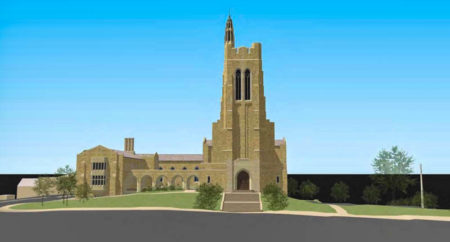 Rendering of Current Elevation from Henley Street, Church Street United Methodist Church, Knoxville, May 2016