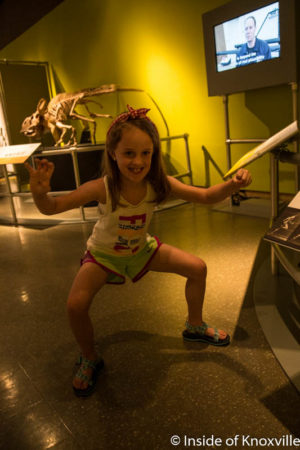 Urban Girl, Dinosaur Exhibit, McClung Museum, June 2016