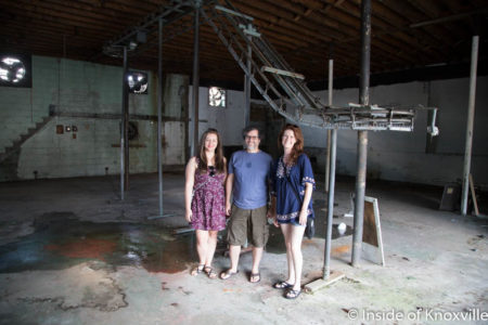 Burke Brewer, Victor Agreda, Jr. and Carolyn Corley, Future Home of Modern Studio, 109 W. Anderson, Knoxville, July 2016