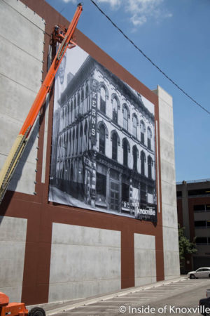 Installation of the Murals on the Walnut Street Garage, Knoxville, June 2016