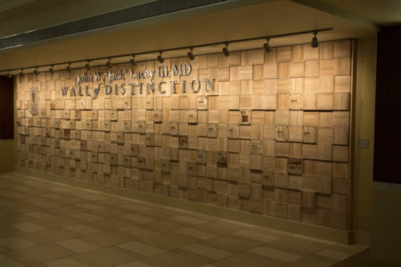 timeline donor wall we created, produced, and installed at UTMC center