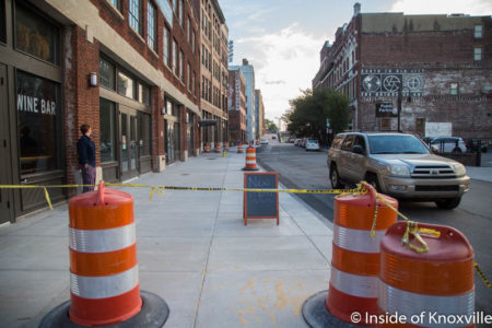 Widened Sidewalk, Old City, Knoxville, September 2016
