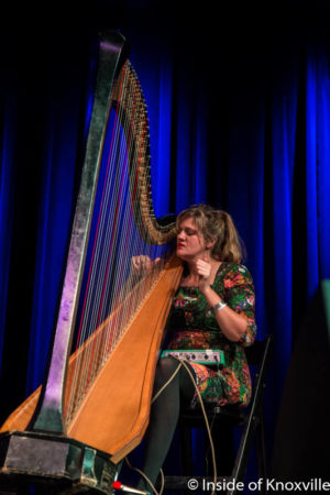 Mary Lattimore performs at the Big Ears Preview Party, Mill and Mine, Knoxville, October 2016