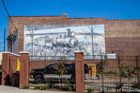 Train Mural (Walt Fieldsa, 2001), Central Street in the Old City, Knoxville, October 2016