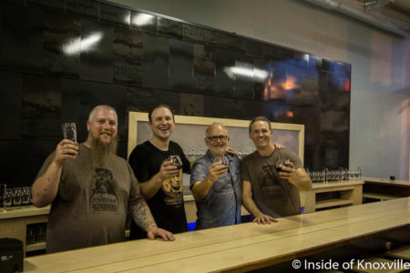 Will Brady, Matthew Cummings, Brett Honeycutt and Johnny Miller, Pretentious Beer Company, 133 South Central, Knoxville, October 2016
