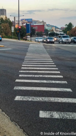 Pedestrian Crosswalks at Broadway/Henley and Western/Summit Hill, Knoxville, November 2016