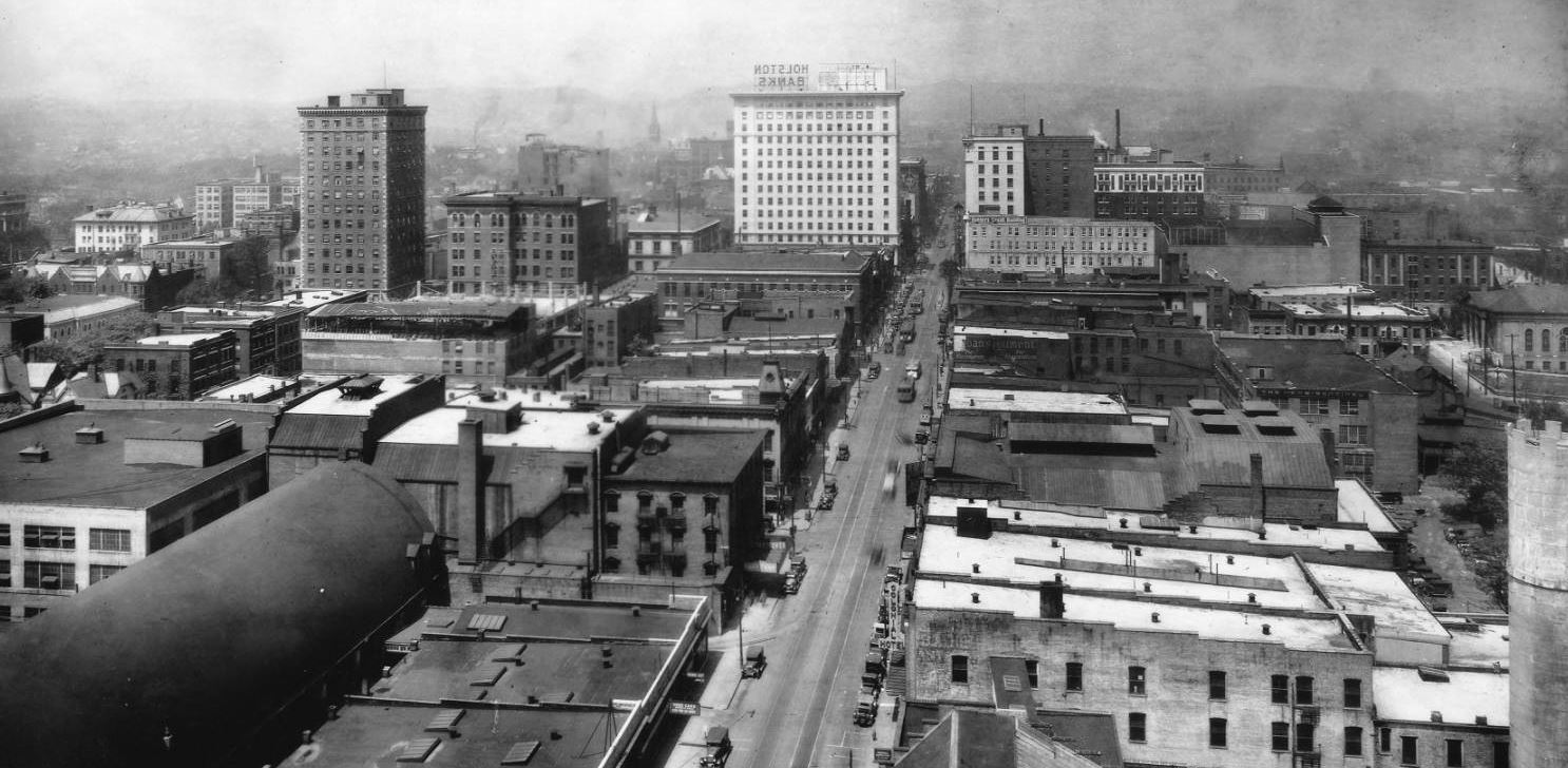 knoxville aerial gay street 1929 bijou tennessee lyric theatres