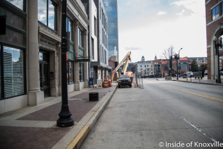 Construction on the Tombras Building, Corner of Gay and Church, Knoxville, January 2018