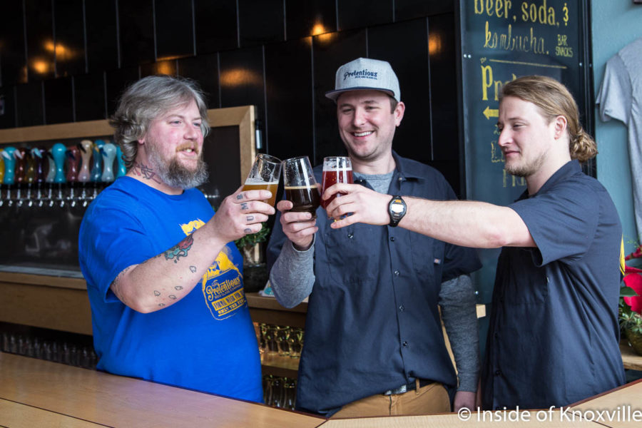 Will Brady, Matthew Cummings and Alex Rich, Pretentious Beer Company, 131 S. Central Street, Knoxville, January 2018