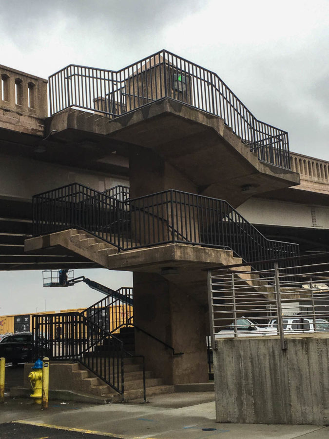 Stairwell at Gay Street Viaduct, West Jackson Avenue at the Gay Street Viaduct, Knoxville, March 2018 (Photo Couresy of CBID)