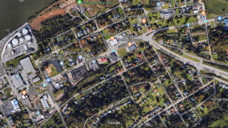 Areal View of Impacted Section of Sevier Avenue, Sevier Avenue Streetscape Project, Knoxville, April 2018