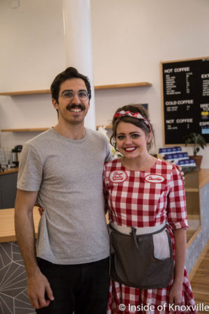 Manager Noam Orr with Cruze Farm Girl, Pearl on Union, 513 Union Avenue, Knoxville, April 2018