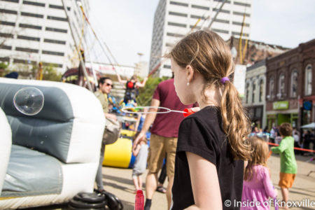 Urban Girl blowing Bubbles, Rossini Festival, Knoxville, April 2018
