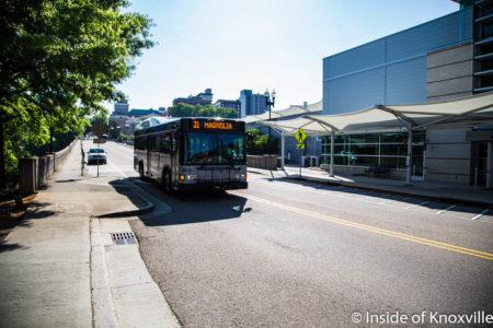 Bus at the Transit Center, Church Avenue, Knoxville, May 2018